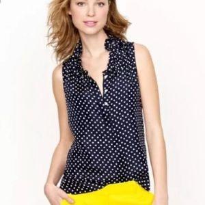 J Crew | Navy Polka Dot Ruffle Sleeveless blouse 0